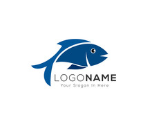 Simple Fish Art Logo, Blue Fish Logo