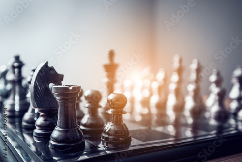 Fotomural chess board game for ideas and competition and strategy, business success concep