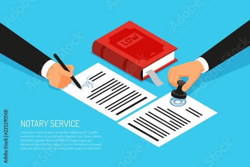 Staande foto Hoogte schaal Notary Sevice Isometric Illustration