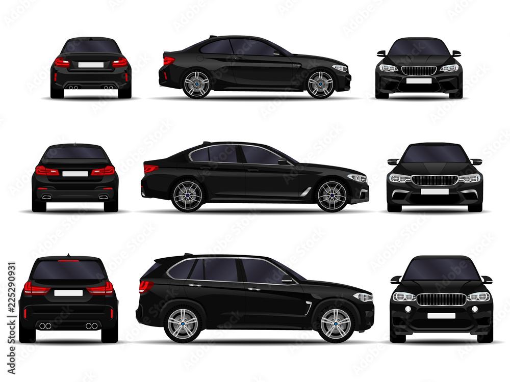 Fototapeta realistic cars set. front view; side view; back view.