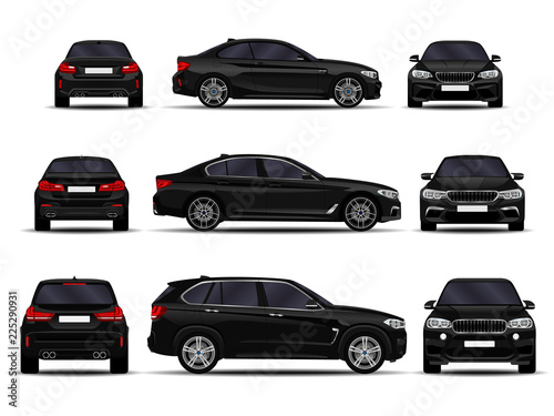 Obraz realistic cars set. front view; side view; back view. - fototapety do salonu