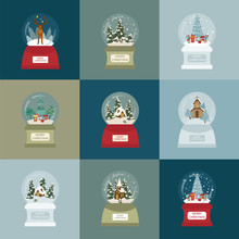 Snow Globe Icon Set. Elements For Christmas Holiday Greeting Card, Poster Design
