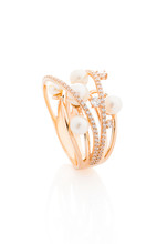 Pink Gold Ring With Diamonds And Pearls Isolated On White