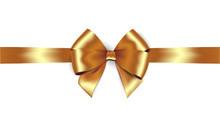 Shiny Golden Satin Ribbon. Vector Isolate Gold Bow