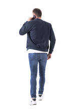 Back View Of Busy Adult Man In...