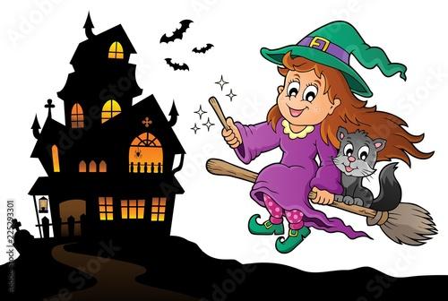 Fotobehang Voor kinderen Cute witch and cat Halloween image 4