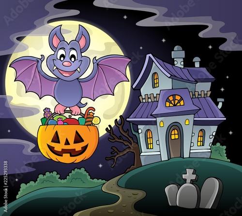 Fotobehang Voor kinderen Halloween bat theme image 6