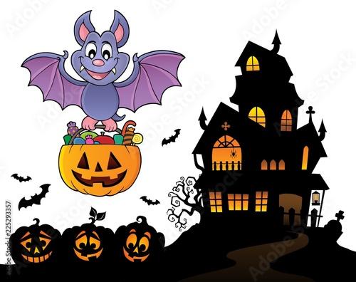 Fotobehang Voor kinderen Halloween bat theme image 9