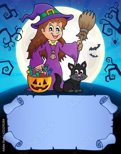 Fotobehang Voor kinderen Small parchment and cute witch 1