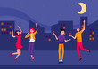 Night cityscape background with happy dancing people.
