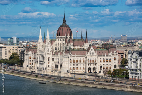 Looking down to the Danube river with the parliament building in Budapest, Hungary