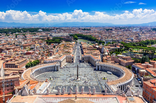 Rome, Italy. Famous Saint Peter`s Square in Vatican and aerial view of the city.