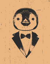 Portrait Of Penguin In Suit, Hand-drawn Illustration, Vector