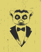 Portrait Of Lemur In Suit. Han...