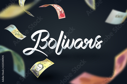 Photo Paper art of Bolivars calligraphy hand lettering and falling banknote