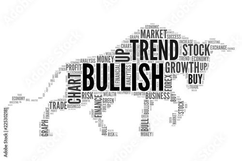 Foto Stock market words to be bull symbol as a Bullish trend