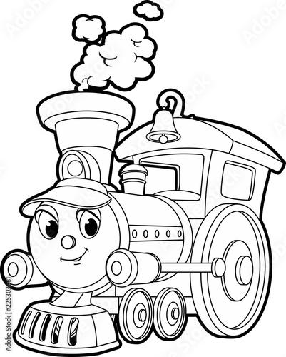 Cartoon contour vector illustration of a smiling train, coloring ...