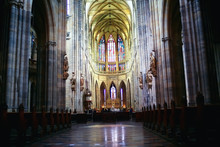Interior Of The Catholic Cathedral In Prague / Cathedral In The Czech Republic, Inside The Church, The Catholic Interior