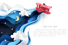 Abstract Of Little Paper Plane Flying Through Cloud At Night, Paper Art Concept And Tourism Idea