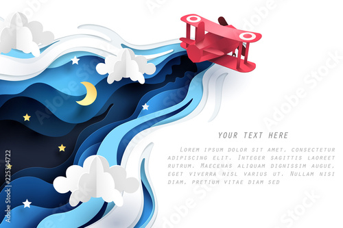 Carta da parati Abstract of little paper plane flying through cloud at night, paper art concept
