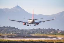 Airplane Landing On Corfu Airport