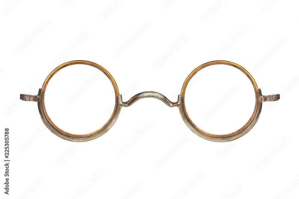 Fototapeta Vintage circular eyeglasses isolated on white