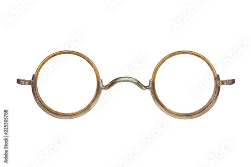 Vintage circular eyeglasses isolated on white