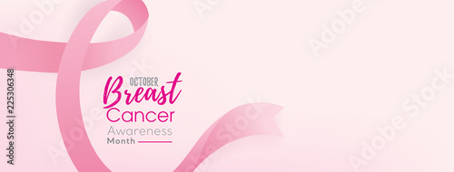 Fotografering Breast cancer awareness campaign banner background with pink ribbon