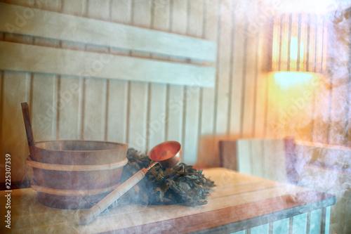 Fototapeta Russian sauna broom / sauna accessories, broom for sauna, Russian traditional sauna, steam bath with broom hot steam obraz