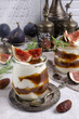 Traditional natural yogurt with jam