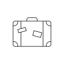 Line Icon- Travel Bag. Outline Concept For Websites, Infographic, Mobile Applications. Vector Illustration On White Background