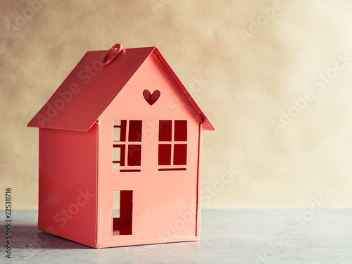 Brilliant Metal Red Model Of A House With A Heart The Concept Of Home Home Remodeling Inspirations Genioncuboardxyz