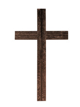Old Rustic Wooden Cross Isolated On White Background. Christian Faith.
