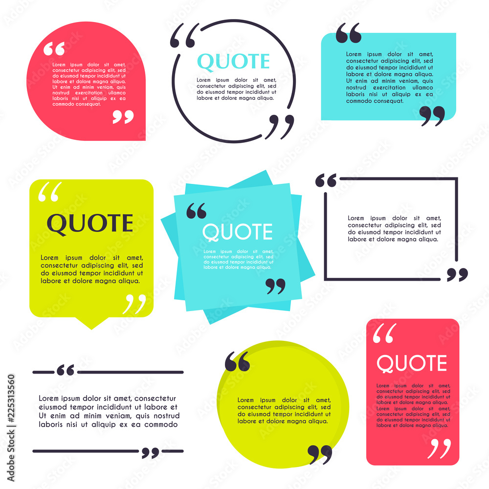 Fototapety, obrazy: Quote blank template. Design elements, circle business card, paper sheet, information, text  for your design.