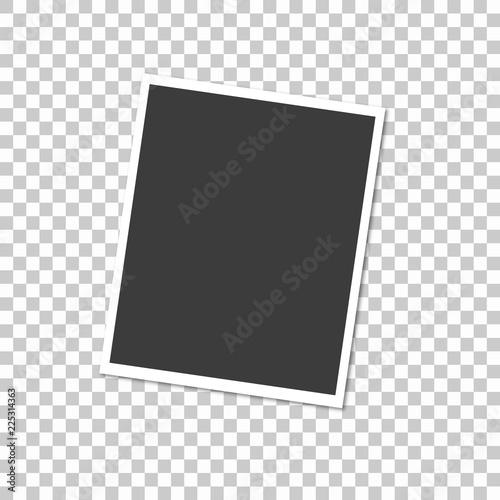 Fototapeta Retro realistic vector photo frame placed on transparent background. Template photo design. obraz na płótnie