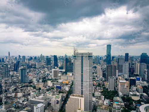 View of the Bangkok Thailand Skyline with skyscrapers and downtown traffic