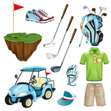 Golf Club Vector Cartoon Icons And Design Elements Set. Golf Cart, Ball, Club, Bag And Clothes Illustration.