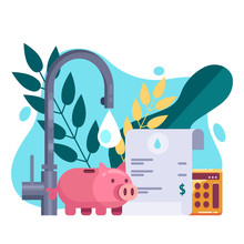 Utility Bills And Saving Resources Concept. Vector Flat Illustration. Water Invoice Payment
