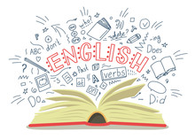 English. Open Book With Langua...