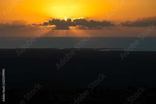 view at sunset from the top of a volcano