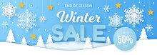 Winter Sale Banner. Origami Sn...
