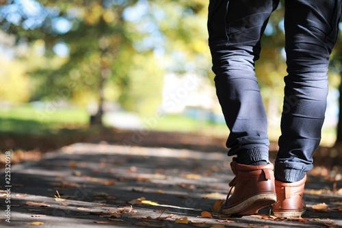 Fotografie, Obraz  Autumn Park man walking along a path foliage
