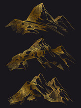 Golden Mountains Isoated On Black Background. Shiny Sketch Of Mountains. Vector Illustration