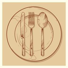Hand Sketched Vintage Cutlery ...