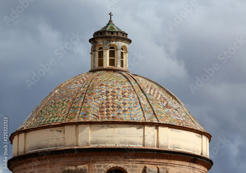 Fotografie, Obraz  detail of tile dome on the Church of the Society of Jesus, Cusco, Peru