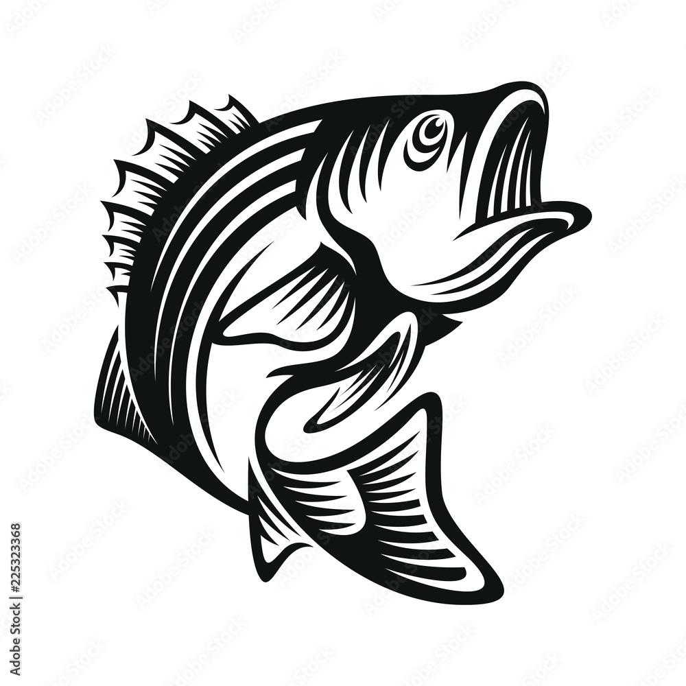 Fototapeta bass fish icons isolated on white background. Design element for logo, label, emblem, sign, brand mark. Vector illustration.
