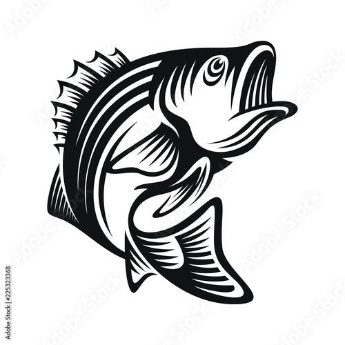 Fototapeta bass fish icons isolated on white background. Design element for logo, label, emblem, sign, brand mark. Vector illustration. obraz