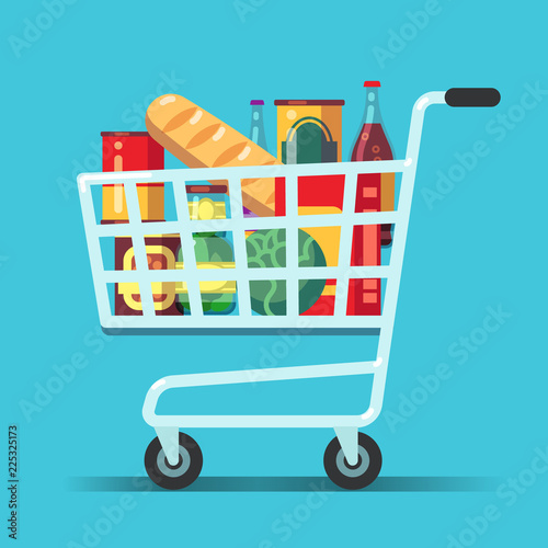 Full supermarket shopping cart Fototapeta