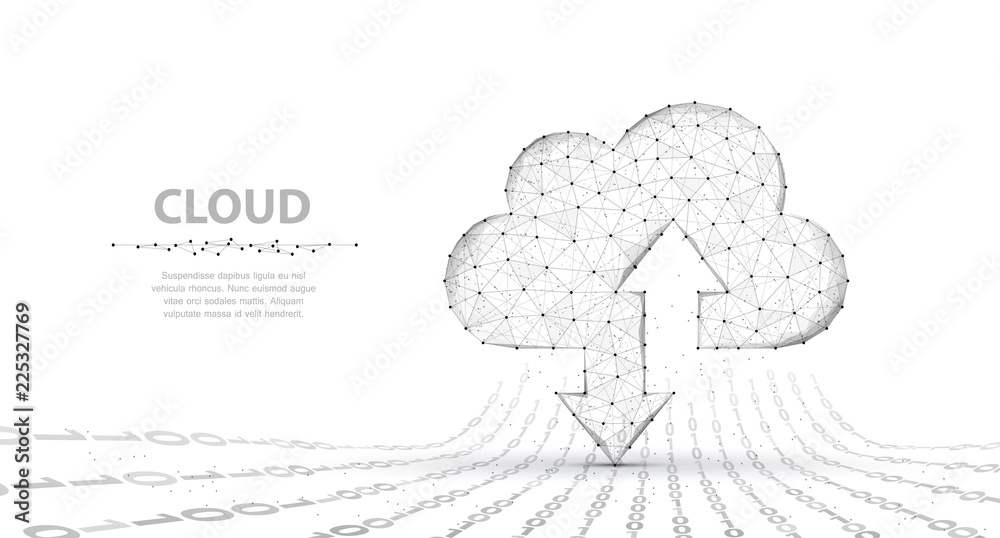 Fototapeta Cloud technology. Abstract polygonal wireframe cloud storage sign with two arrows up and down isolated on white with dots.