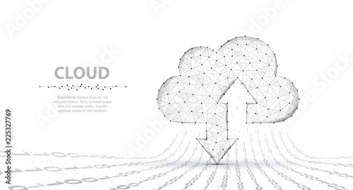 Cloud technology. Abstract polygonal wireframe cloud storage sign with two arrows up and down isolated on white with dots.